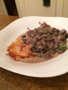 "Giada's ""Mushroom Ragu"" with Potato Cake"